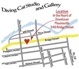 Map of Diving Cat Studio and Phoenixville