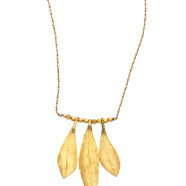 Gold Olive Leaves Pendant Necklace